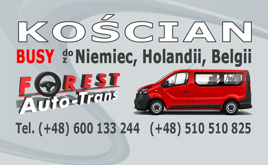 KOŚCIAN - busy do Niemiec, Holandii i Belgii z Kościana lub do Kościana