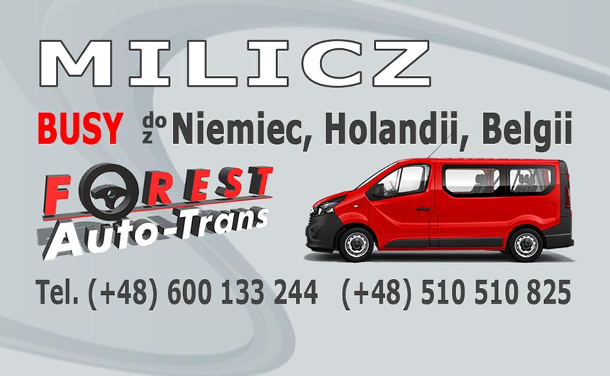 MILICZ - busy do Niemiec, Holandii i Belgii z Milicza lub do Milicza