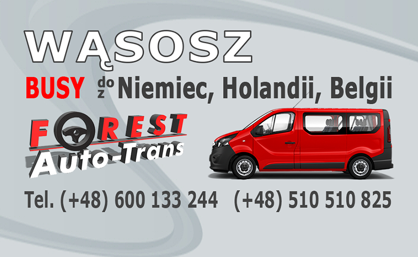 WĄSOSZ - busy do Niemiec, Holandii i Belgii z Wąsosza lub do Wąsosza